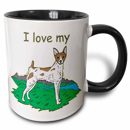 3dRose Cute and Cuddly Canine I Love My Rat Terrier - Two Tone Black Mug, 11-ounce