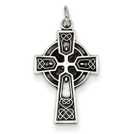 Sterling Silver Antiqued Satin Celtic Cross Pendant (Antique Crocs)