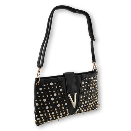 Black Handbag With Gold Spikes Studs And Rhinestones