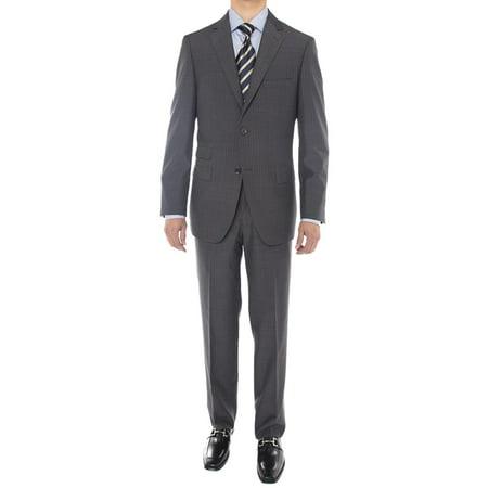 LN LUCIANO NATAZZI Men's Two Button Suit Side Vent Jacket Super 160'S Wool Suit Charcoal ()
