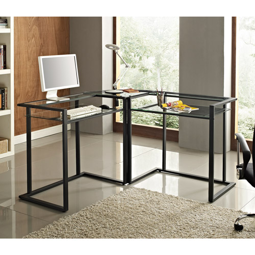 Walker Edison Glass and Metal C-Frame Corner Computer Desk, Black