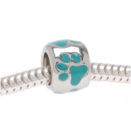 Silver Tone European Style Large Hole Bead With Teal Enamel Paw Prints
