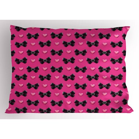 (Pearls Pillow Sham Bow Ties with Hearts Feminine Valentines Day Romantic Theme with Dotted Background, Decorative Standard King Size Printed Pillowcase, 36 X 20 Inches, Pink Black, by Ambesonne)