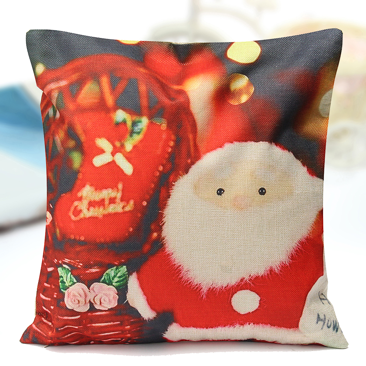 """18""""x18"""" 6 Style Christmas Santa Claus Deer Snowman Printing Pillow Cases Home Car Couch Sofa Chair Cushion Covers Decorate"""