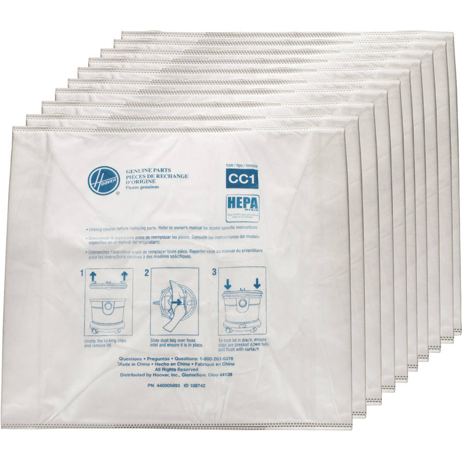Hoover Commercial HEPA CC1 Disposable Vacuum Bags, 10 count