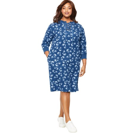 Woman Within Plus Size Lace-up Front Fleece Dress