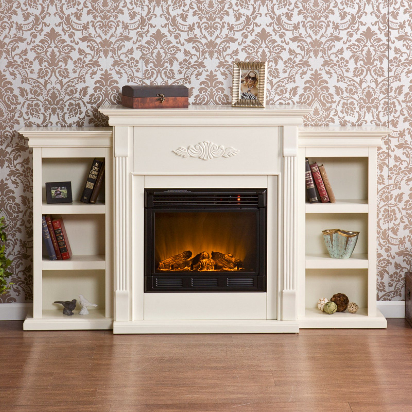 Southern Enterprises Tennyson Ivory Electric Fireplace with Bookcases by Southern Enterprises