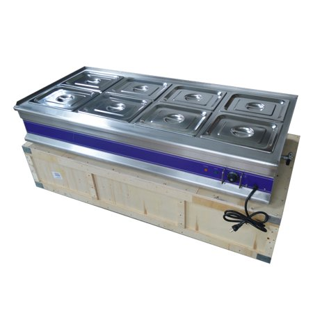 TECHTONGDA 8-Well Commercial Electric Bain-marie Buffet Line Countertop Food Warmer Steam -