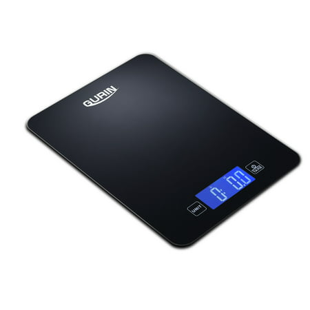 Gurin KS-100 Touch Professional Digital Kitchen Scale, Tempered Glass in Elegant Black