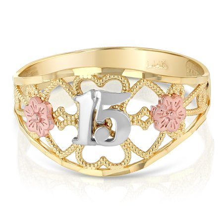 14K Tri Color Solid Gold 15 Years Quinceanera Birthday Ring With Flower and Hearts - size 8.5