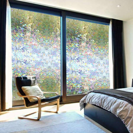 Ejoyous 3D Privacy Window Films Sticker Non Adhesive Static Cling Reusable Glass Film for Home OFFICE, Reusable Film For Heat Control Sun Blocking Stained Glasses](Stained Glass Clearance)