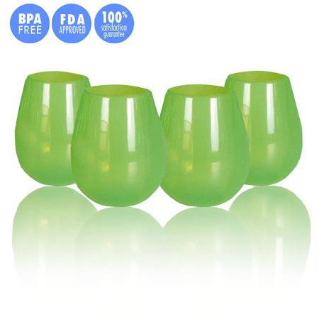 Kuke Set of 4 Unbreakable Silicone Wine Glasses Stemless Collapsible Drinking Cups 9/12 Ounce (Green-12 oz)