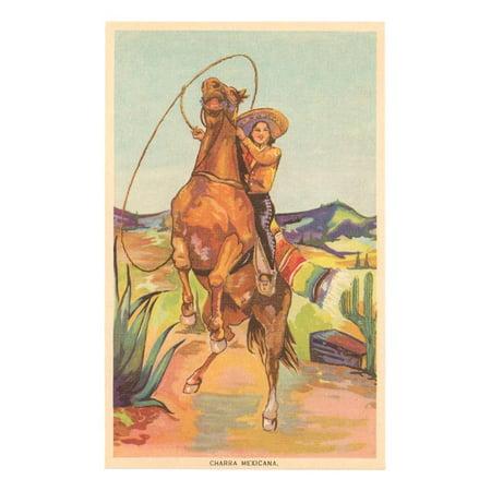Latin Art - Mexican Cowgirl Southwestern Boho Style Hispanic Vintage Art Print Wall Art