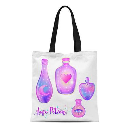 Halloween Jars Potions (KDAGR Canvas Tote Bag Magic Potion Blue Bottle Jar Pink Moon Crystals Heart Reusable Shoulder Grocery Shopping Bags)