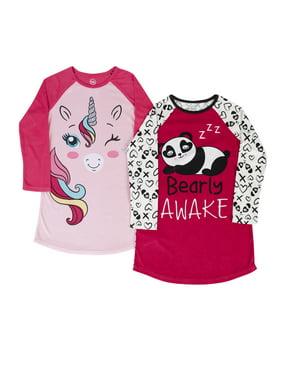 Wonder Nation Fleece Raglan Pajama Nightgowns, 2-Pack (Little Girls, Big Girls & Plus)