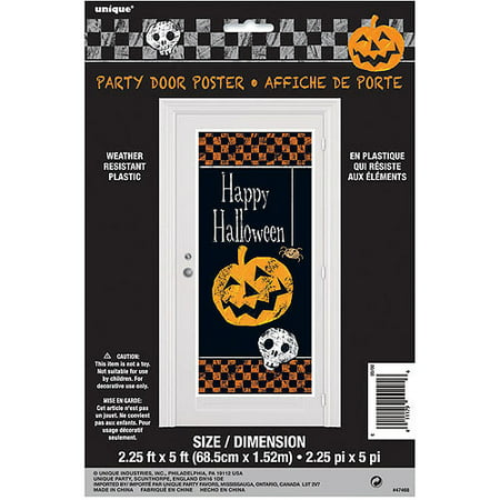 Plastic Checkered Halloween Door Poster, 5 x 2.5 ft, 1ct