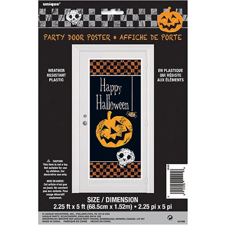 Plastic Checkered Halloween Door Poster, 5 x 2.5 ft, 1ct - Halloween Events Poster