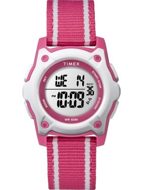 Kids Time Machines Digital 35mm Pink/White Watch, Double-Layered Nylon Strap