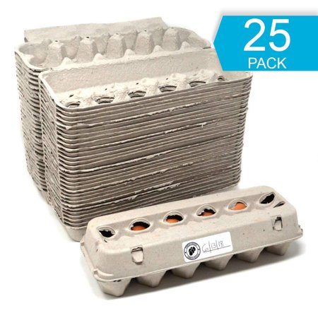 Egg Cartons - 25 PACK - Free Labels Included - 100% recycled materials - Made in North America - Bulk Cheap Blank Egg Cartons Pack Of 25 - See Color Of Eggs Inside (Custom Egg Carton Labels)