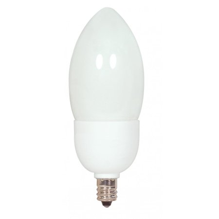 Satco Lighting S7327 Single 7 Watt C15 Shaped Candelabra (E12) Base Compact Fluorescent Bulb (Compact Fluorescent Bulbs Candelabra Base)