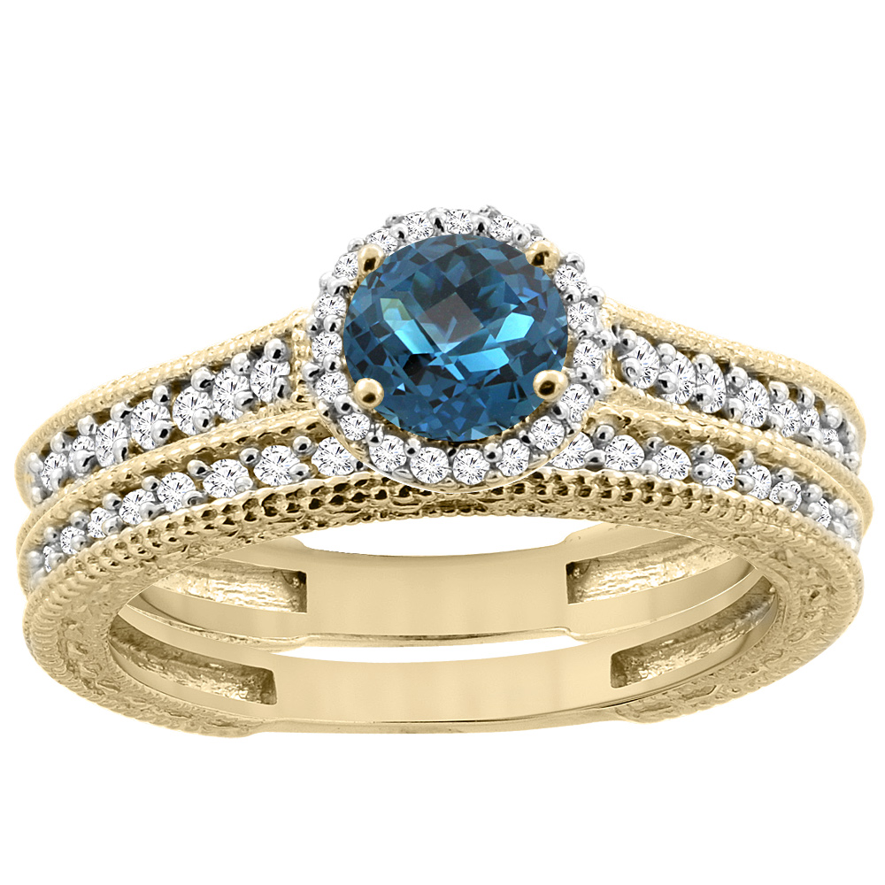 14K Yellow Gold Natural London Blue Topaz Round 5mm Engagement Ring 2-piece Set Diamond Accents, size 5 by Gabriella Gold