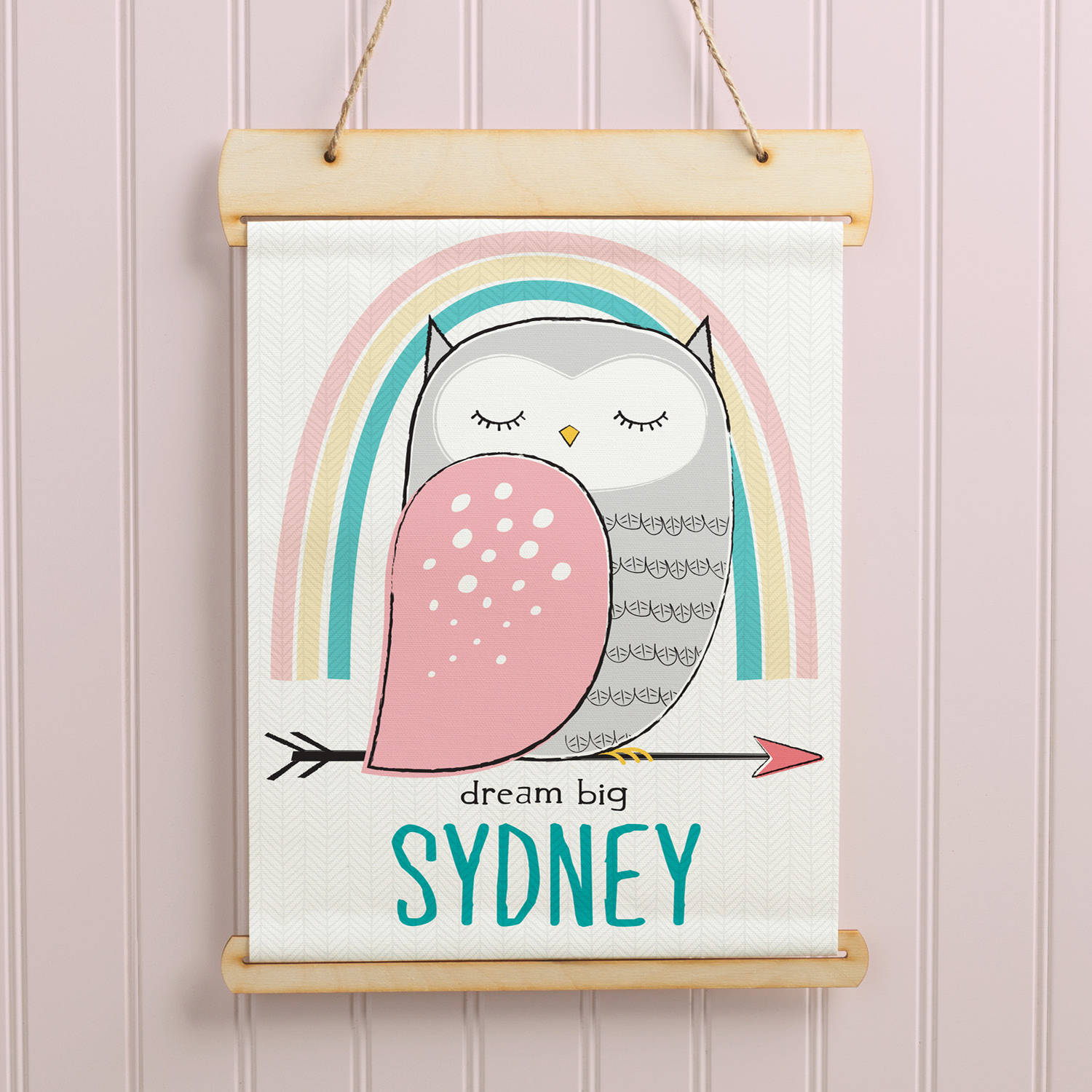 Personalized Dream Big Owl Hanging Canvas Banner