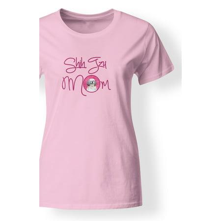 Hockey Mom Adult T-shirt - Pink Shih Tzu Mom T-shirt Ladies
