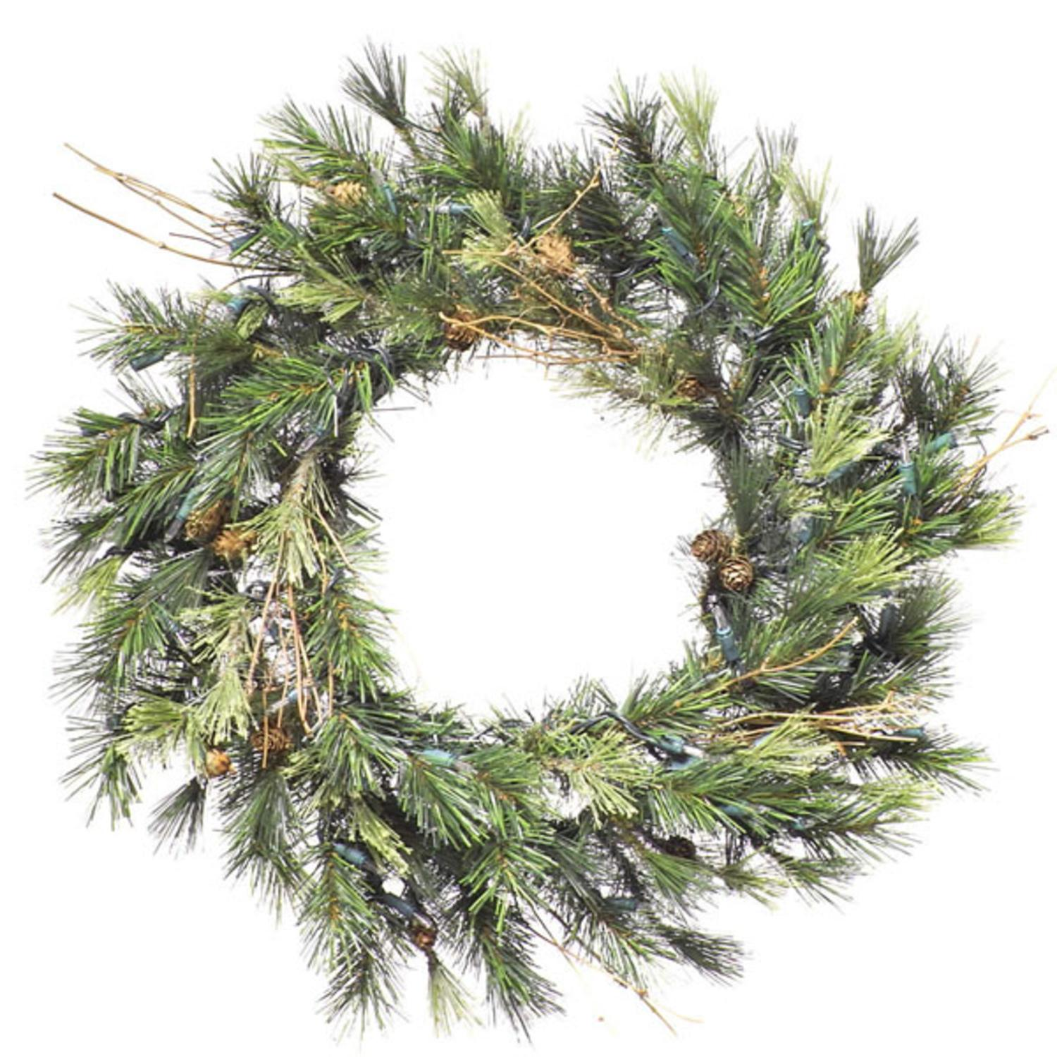 """16"""" Pre-Lit Mixed Country Pine Artificial Christmas Wreath - Clear Dura Lights"""