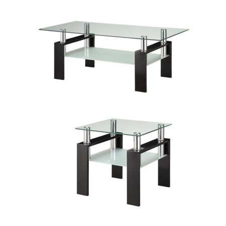 Coaster 2 Piece Glass Top Coffee Table and End Table Set in Black - image 5 of 5