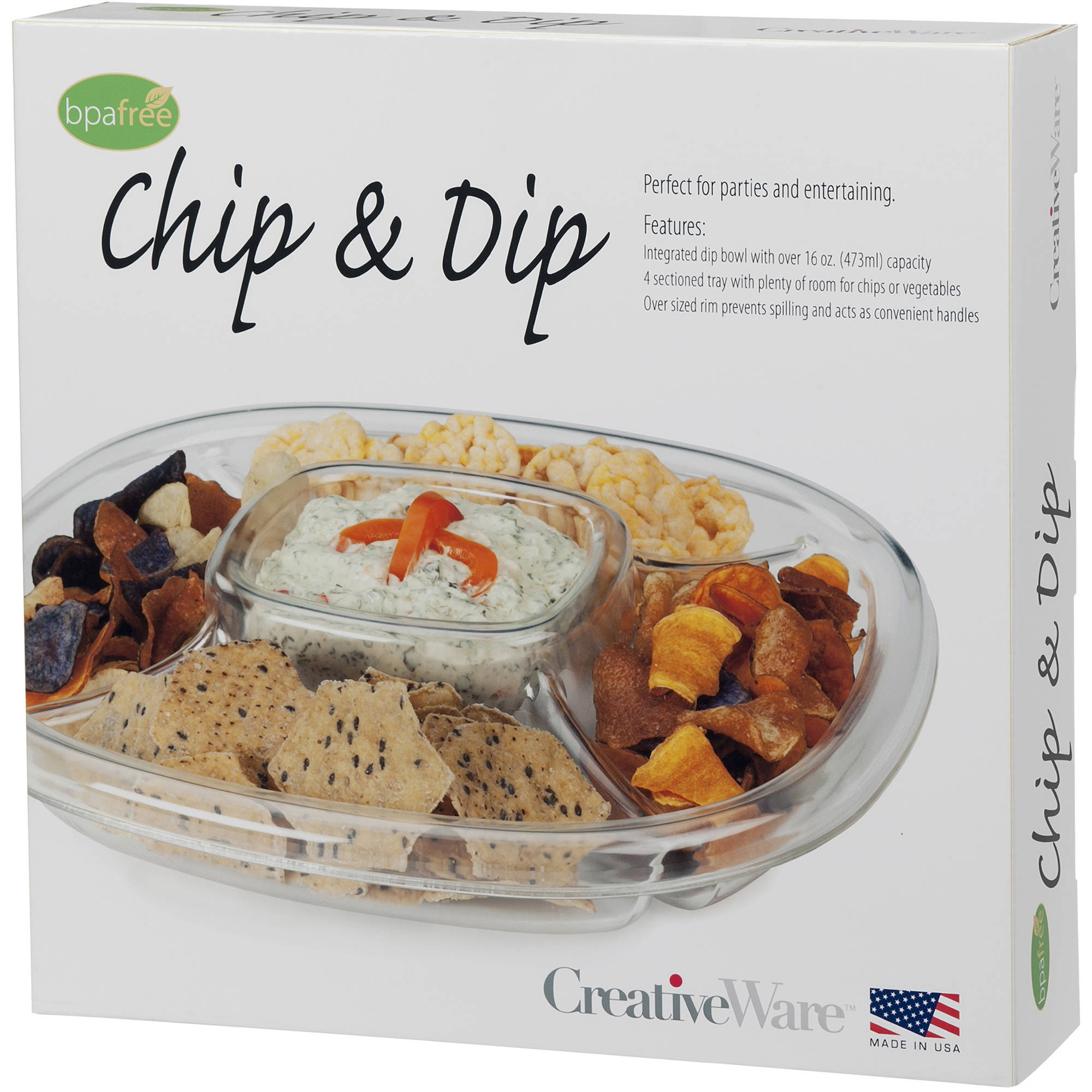 Cretive Ware Clear Plastic 4-Sectioned Chip and Dip Server