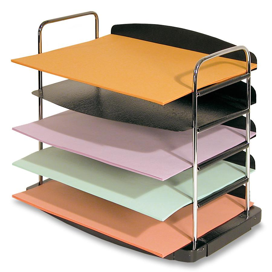 Sandusky Buddy Trio Horizontal 5-Pocket Desktop Organizer, Black