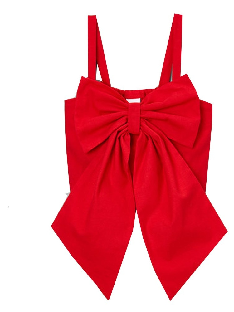 Little Girls Red Solid Color Oversized Bow Spaghetti Strap Shirt 12M-6