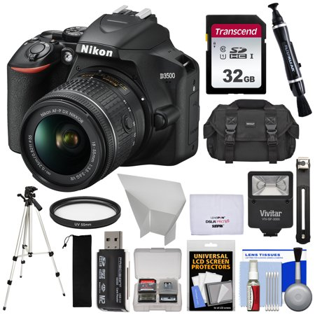Nikon D3500 Digital SLR Camera + 18-55mm VR DX AF-P Lens with 32GB Card + Case + Flash + Tripod +