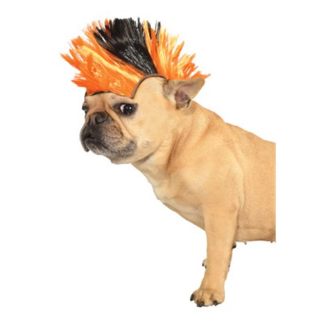 Dog Mohawk (80s Orange Black Punk Rocker Mohawk Wig For Pet)