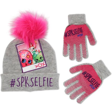 4826aac0a1d Girls Acrylic Knit Winter Cuffed Beanie Hat With Faux Fur Pom And Gripper  Print Matching Glove