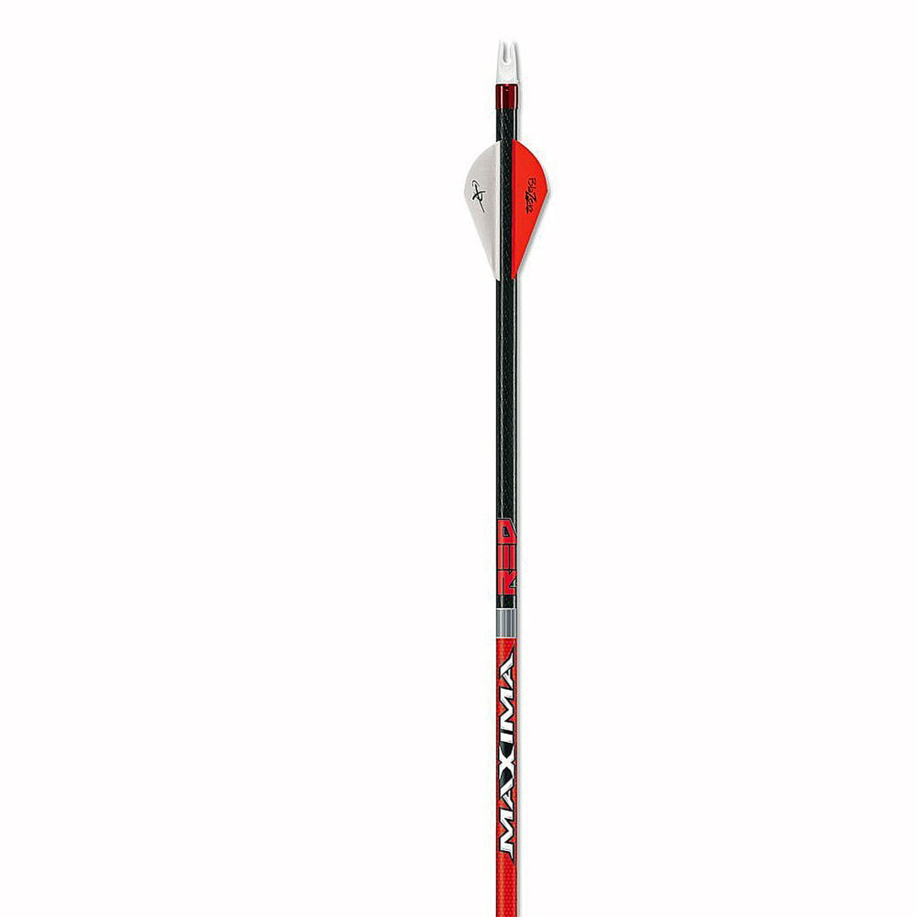 Carbon Express Maxima RED Fletched Carbon Arrows with Dynamic Spine Control and Blazer Vanes 6-Pack