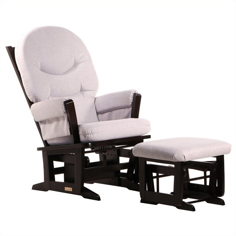 Dutailier Modern Glider and Ottoman Set in Espresso and Light Gray