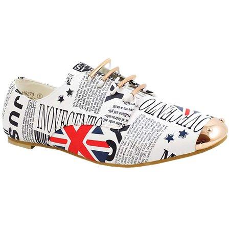 Great Gatsby Women's Shoes (Bonabella Great Britain Flag Women's Oxford Flat, White,)