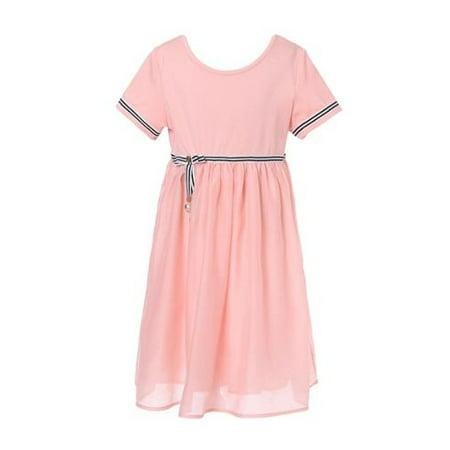 Girls Peach Striped Metal Decoration Mesh Bottom Dress 10](Princess Peach Dress)