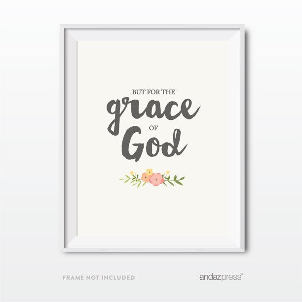 But For The Grace Of God Bible Verses Religious Wall Art Coral Pink Floral Roses Walmart Com Walmart Com