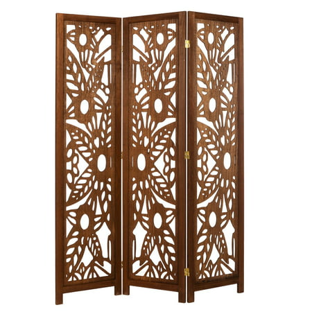 3 Panel Solid Wood Screen Room Divider Walnut Brown Color With Decorative Fl Cutouts By Legacy Decor