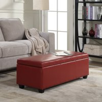 Belleze Rectangular Ottoman Bench Top Storage Living Room Bed Home Faux Leather, Red