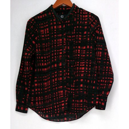 Giuliana Top 2 Long Sleeve Button Down w/ Faux Leather Collar Red Womens 461-163