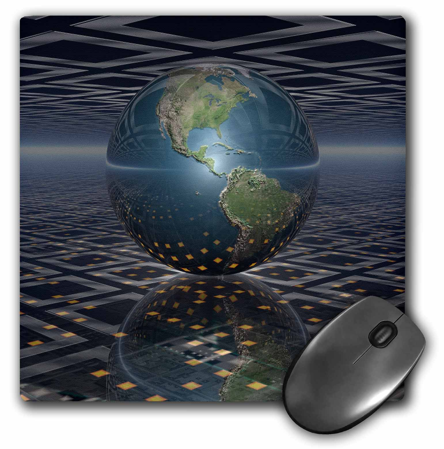 3dRose Earth Horizons surreal scene of reflecting Earth globe resting on computer board, Mouse Pad, 8 by 8 inches