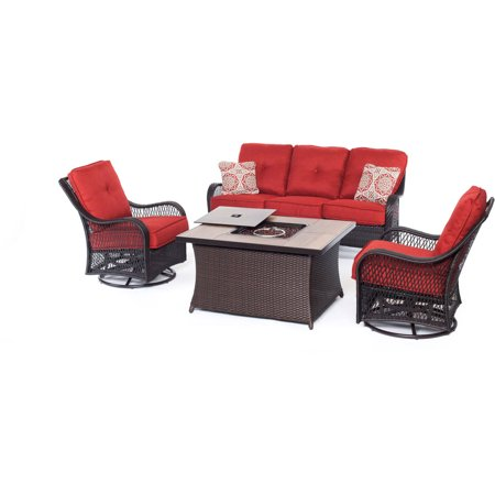 Hanover Orleans 4-Piece Woven Fire Pit Lounge Set with Glazed Faux-Wood Tile Top ()