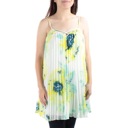 GUESS Womens Yellow Floral Spaghetti Strap Keyhole Baby Doll Top  Size: S (Baby Guess)