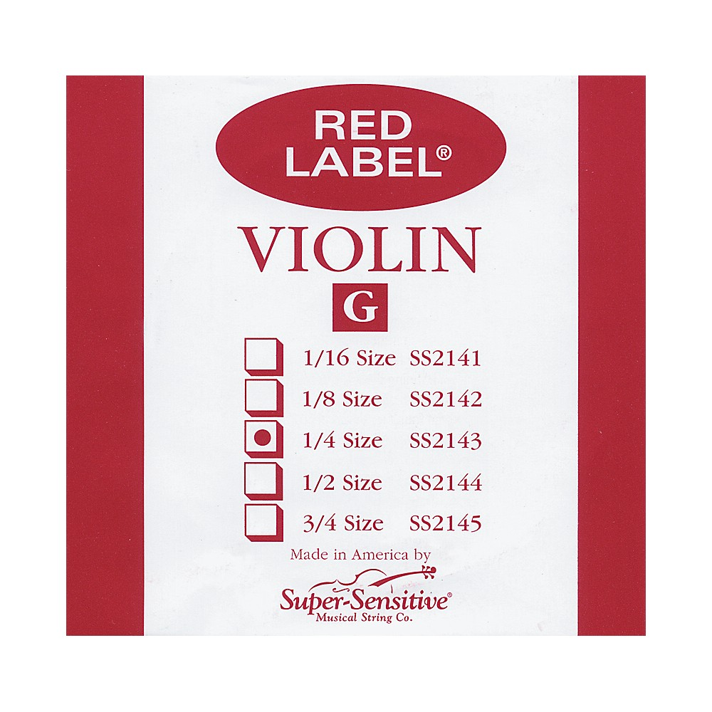 Super Sensitive Red Label Violin G String  1/4