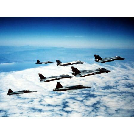 Four F-14 Tomcats And Three F-5 Tiger IIs in Flight Print Wall Art By Stocktrek