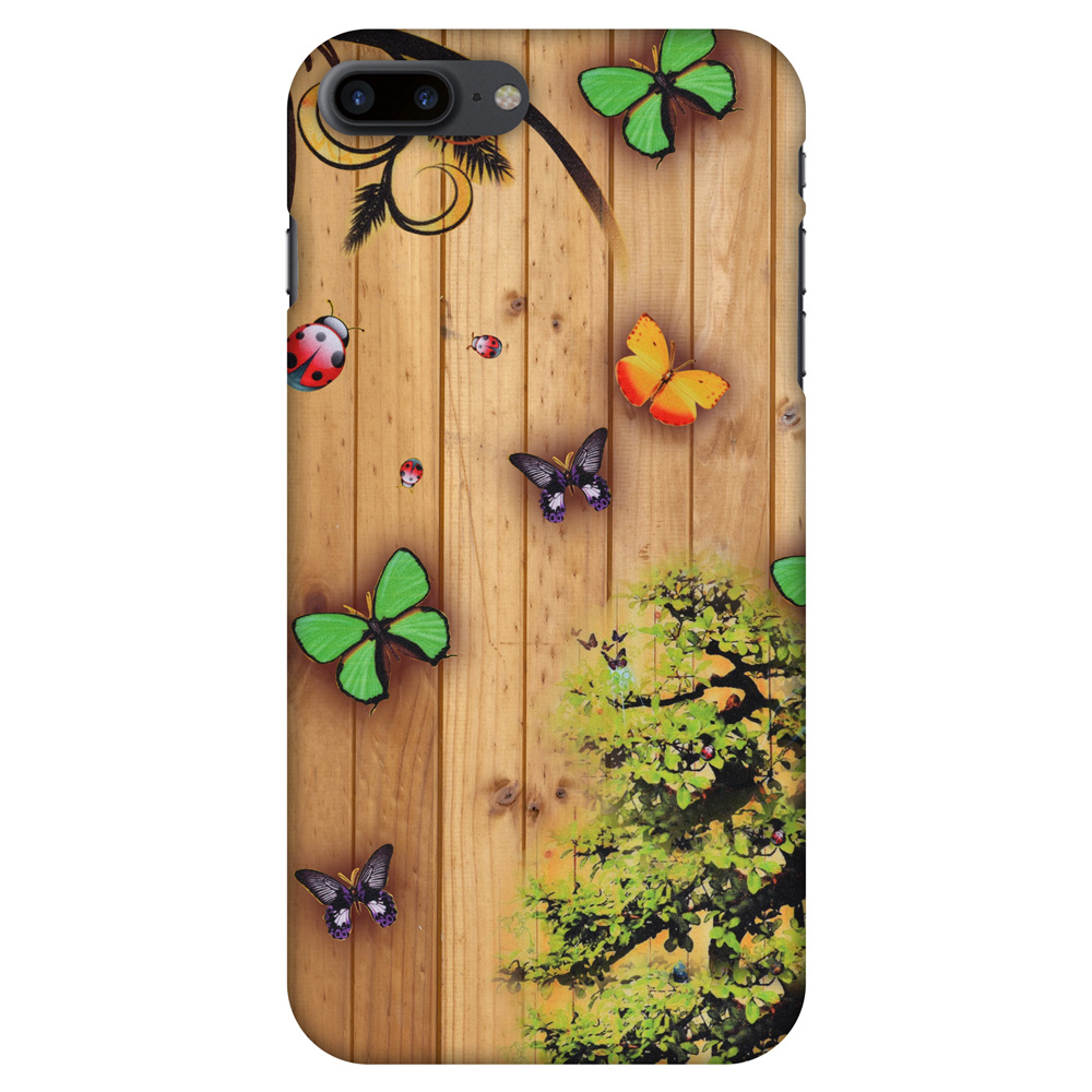 iPhone 7 Plus Case - Bonsai Butterfly, Hard Plastic Back Cover. Slim Profile Cute Printed Designer Snap on Case with Screen Cleaning Kit