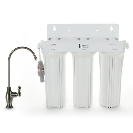 U300 Premium Drinking Water Filtration System 3 Stage w/ Designer Faucet & Protection Valve, Built in USA ()